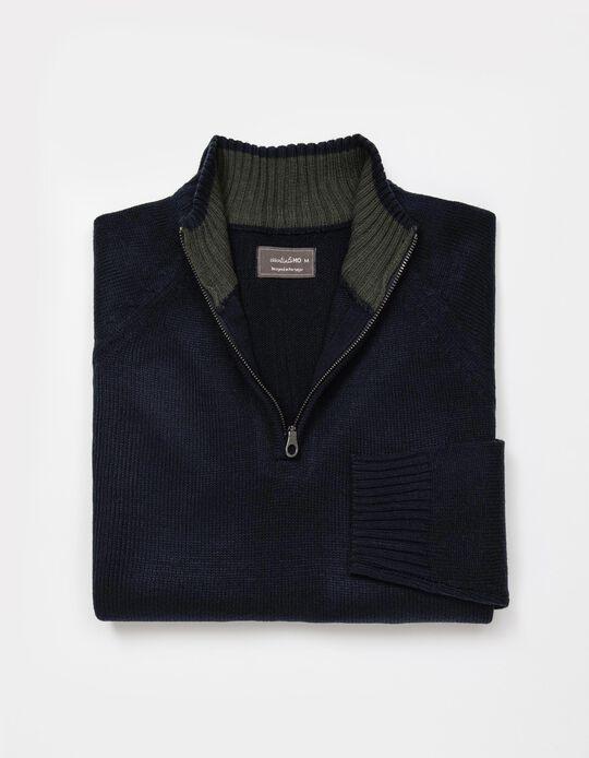 Camisola de Malha com Fecho, Homem, Azul Escuro
