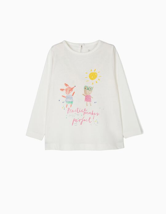 T-shirt de Manga Comprida para Bebé Menina 'Practice', Branco