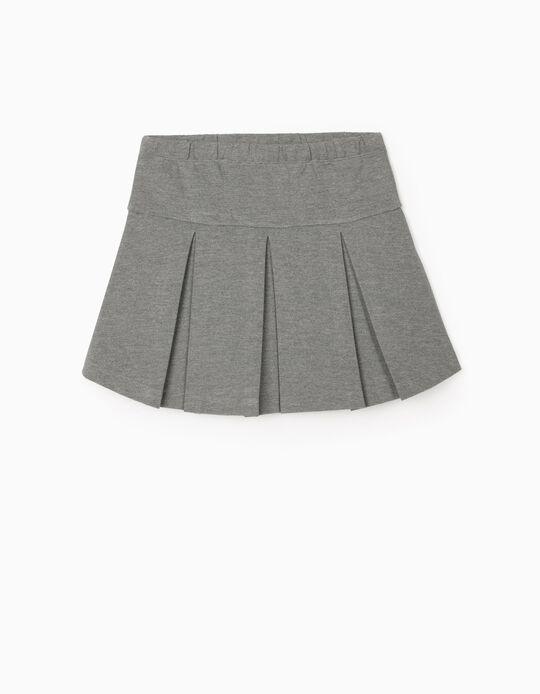 Pleated Skirt for Girls, Marl Grey