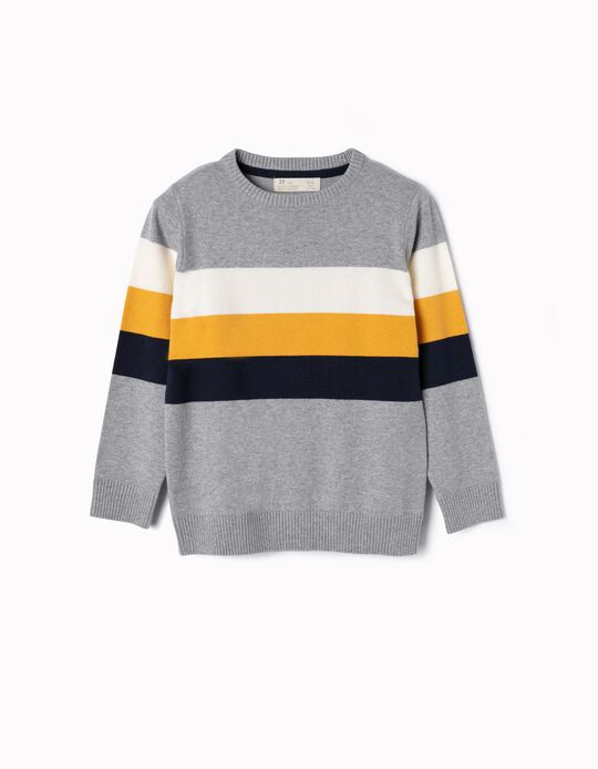 Knit Jumper for Boys 'Stripes', Grey