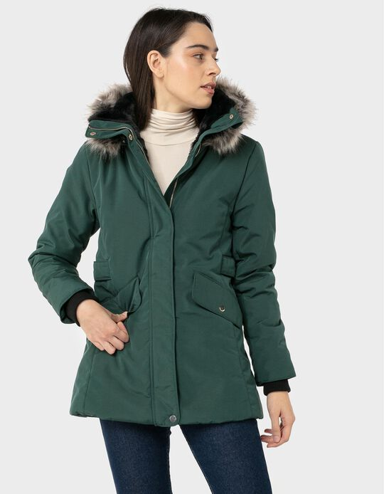 Hooded Parka with Fur Trim