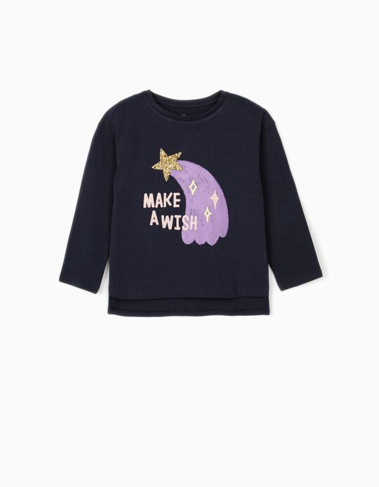 Long Sleeve Top for Girls, 'Make a Wish', Dark Blue