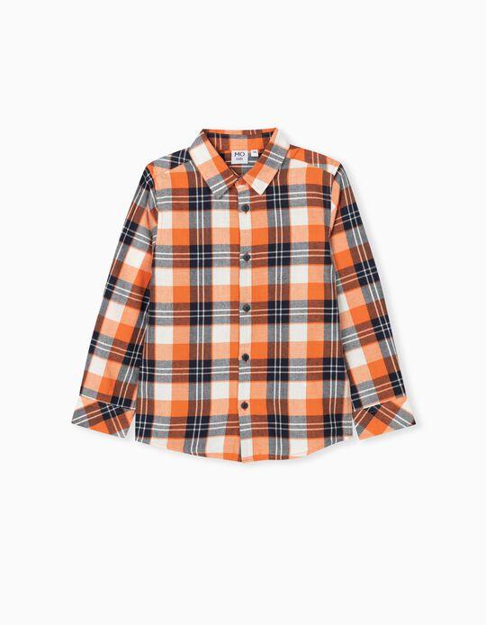 Camisa Quadrados, Criança, Laranja/ Azul