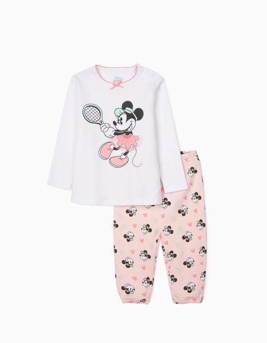 Pyjamas for Baby Girls, 'Minnie Tennis', White/Pink