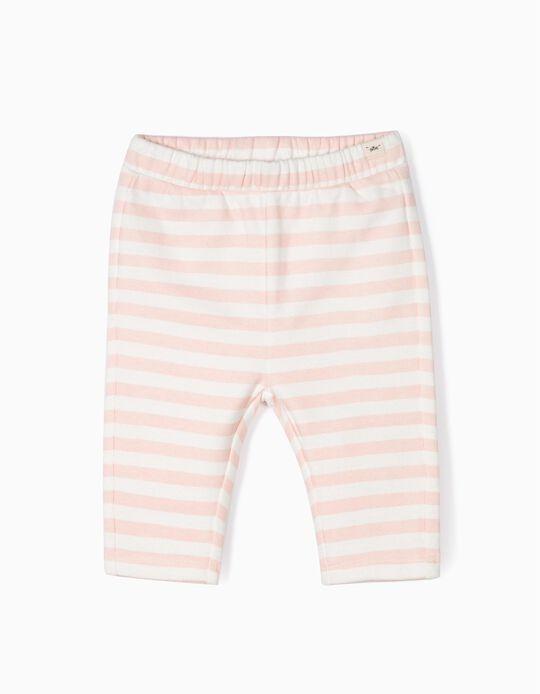 Calças Jersey para Recém-Nascida 'Riscas', Branco e Rosa
