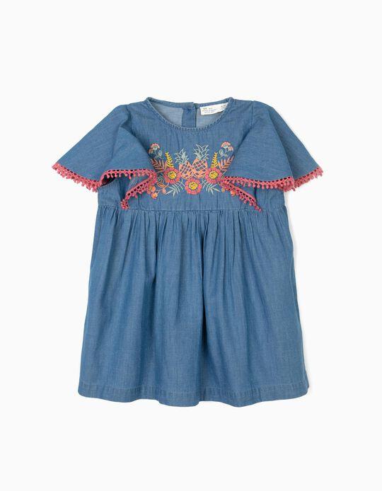 Blusa Denim para Menina com Bordados, Azul
