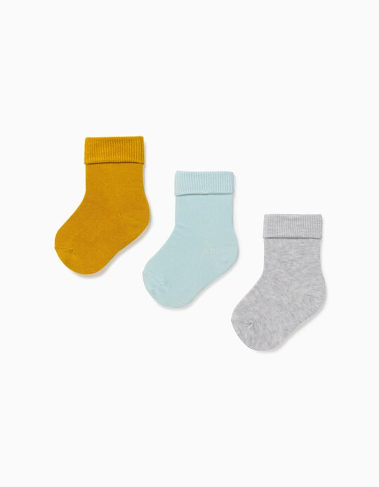 3 Pairs of Cuffed Socks for Baby Boys, Yellow/Blue/Grey