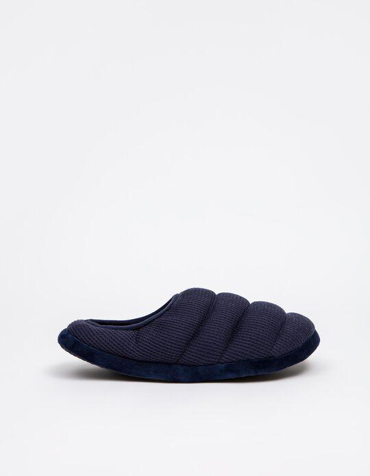 Padded Bedroom Slippers, Men, Dark Blue