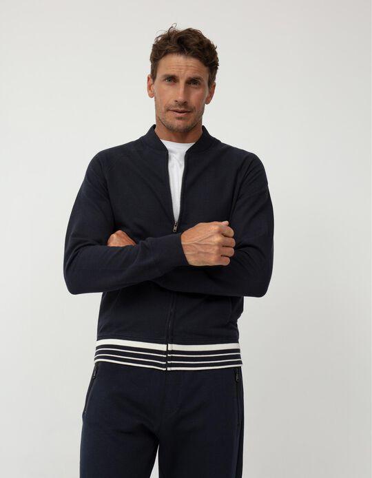 Hooded Fleece Jacket, Men, Dark Blue