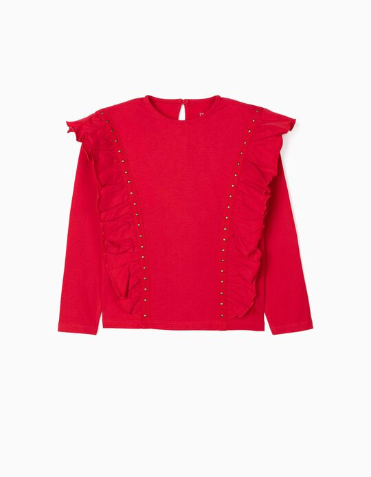 Long Sleeve Top with Ruffles for Girls, Red