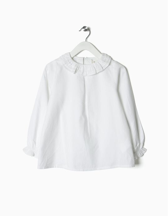 Ruffled Blouse for Girls, White