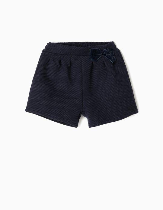 Textured Shorts for Girls, Dark Blue