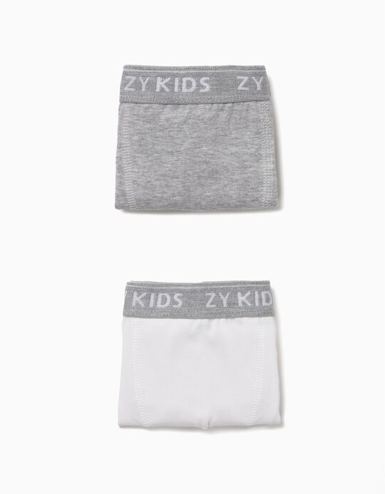 2-Pack Boxers for Boys 'ZY Kids', Grey and White