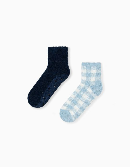 2 Pairs Non-Slip Socks, Blue