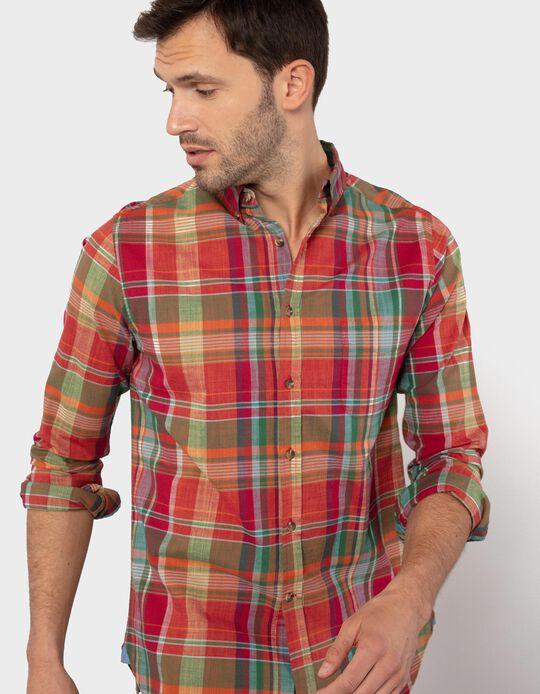 Camisa Slim Fit aos Quadrados, Homem
