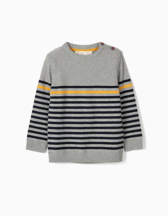 Knit Jumper for Baby Boys 'Stripes', Grey