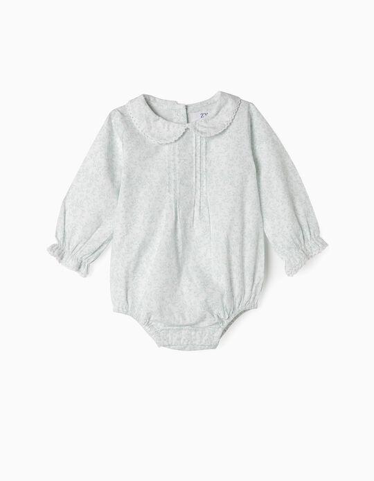 Bodysuit Blouse for Newborn Girls, White/Green