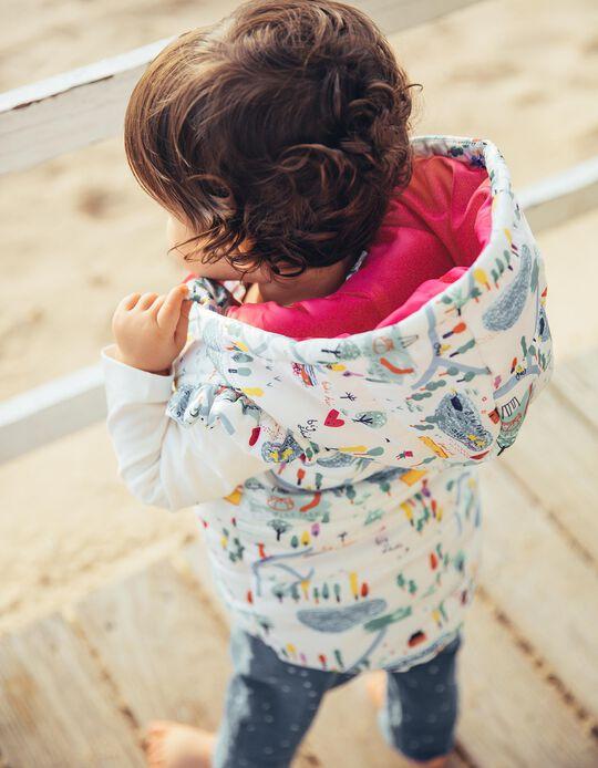 Colete Acolchoado com Capuz para Bebé Menina 'Playground', Branco