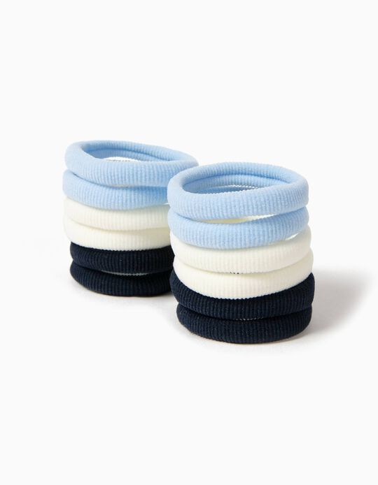 Pack of 12 Hair Elastic Bands, Blue