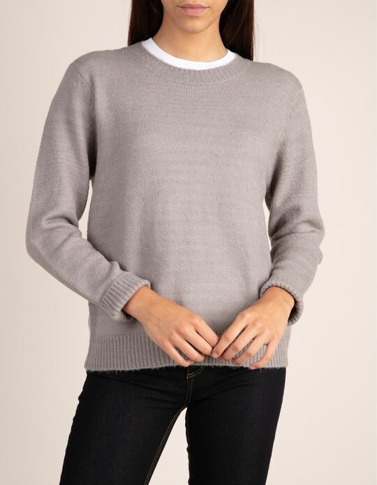 Grey rib knit jumper. Part of the Essentials collection