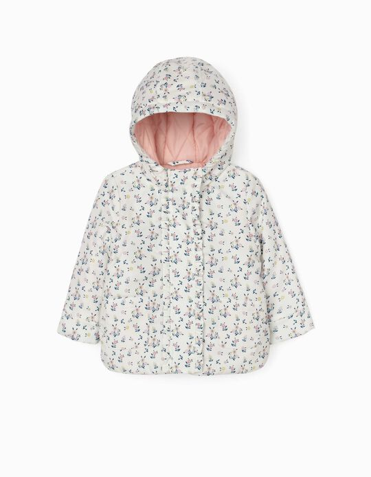 Padded Jacket for Baby Girls, White