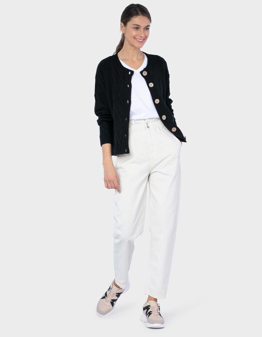 Twill Trousers with Elasticated Waist, for Women