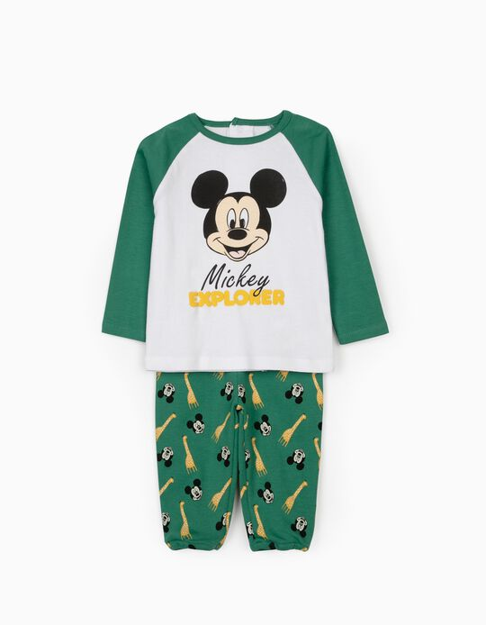 Long Sleeve Pyjamas for Baby Boys, 'Mickey Explorer', White/Green