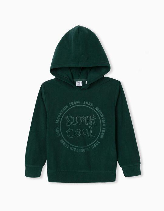 Sweatshirt Polar com Capuz, Criança, Verde Escuro