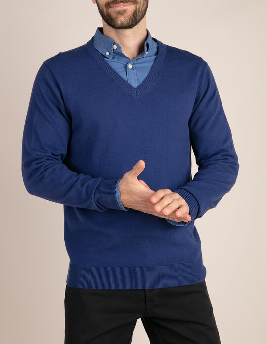 KNIT SWEATER V NECK, DARK BLUE20, M