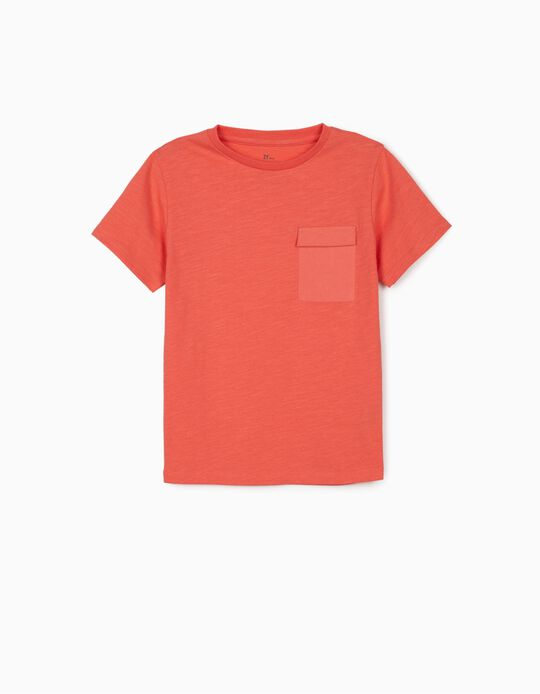 T-shirt with Pocket, for Boys, Coral