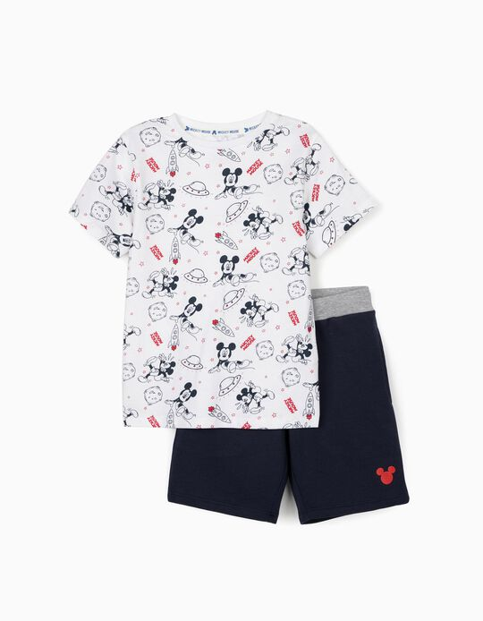 T-shirt and Shorts for Boys, 'Mickey Mouse Space', White/Dark Blue