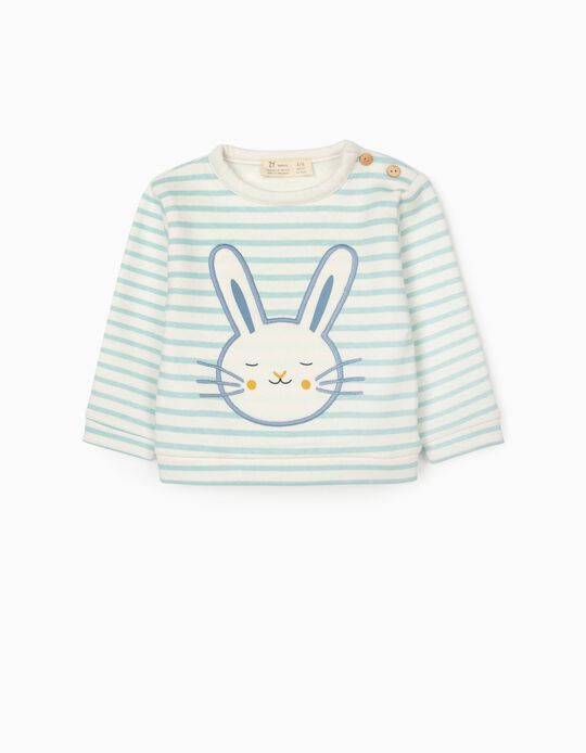 Sweatshirt Riscas para Recém-Nascido 'Cute Bunny', Branco/Azul