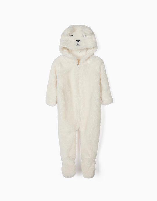 Macacão com Capuz para Recém-Nascida 'Cute Bear', Branco
