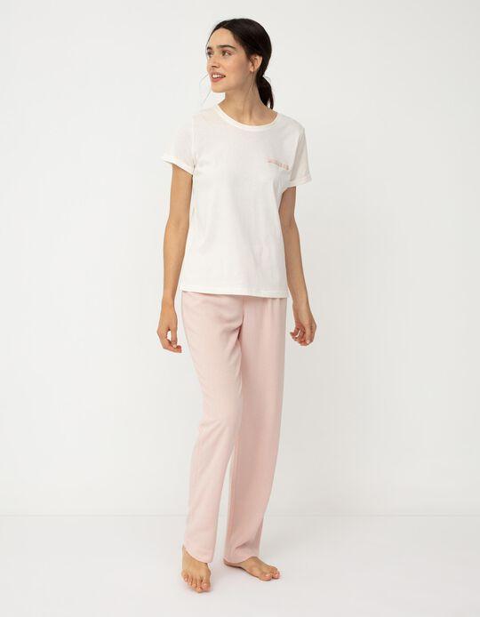 Cotton Pyjamas for Women, White/ Pink
