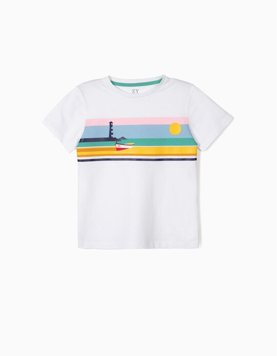 T-shirt for Boys 'ZY Boat', White