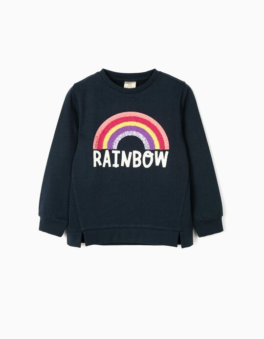Sweatshirt para Menina 'Rainbow', Azul Escuro