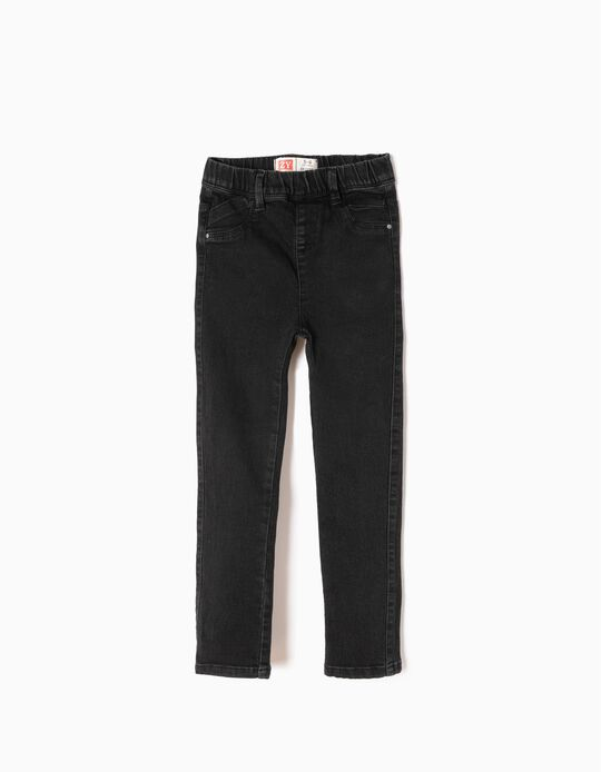 Denim Jeggings for Girls, Black