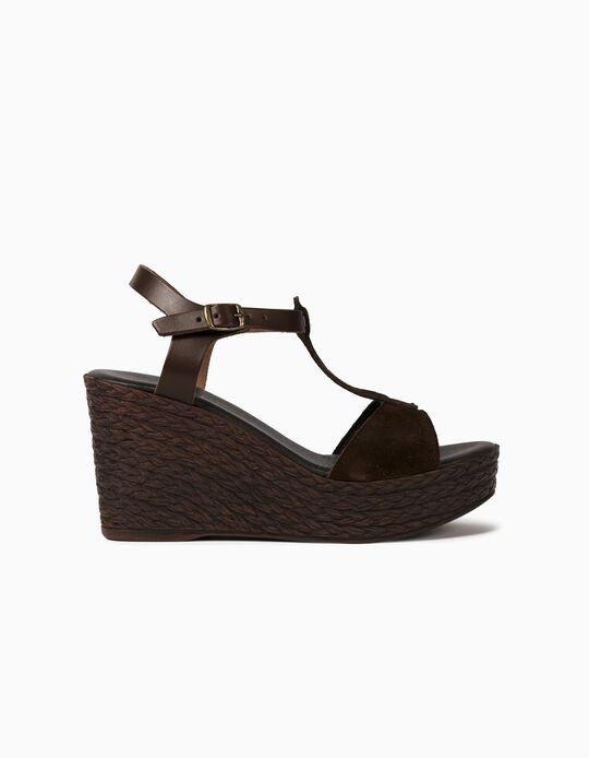 Sandálias de Cunha em Pele Verdadeira