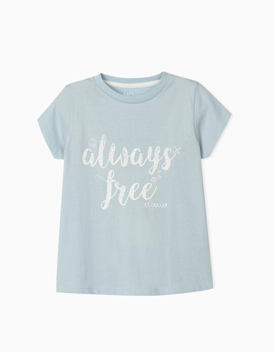 Blue T-shirt for Girls, 'Always Free'