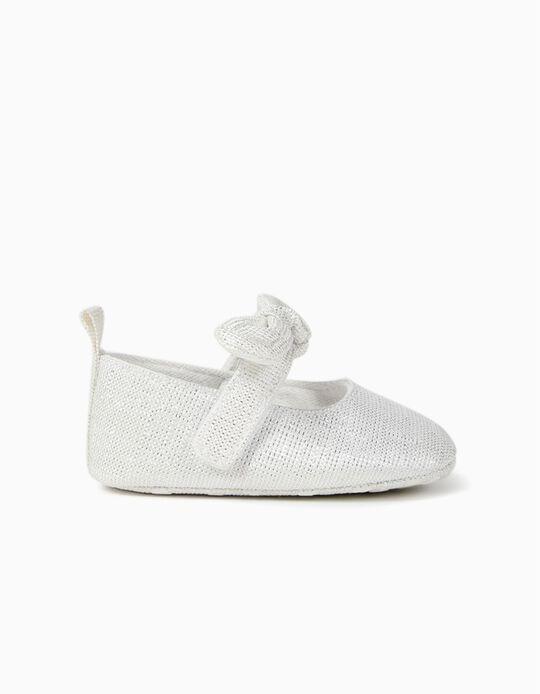 Shiny Ballerinas for Newborn Girls, White