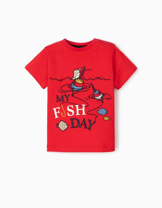 T-shirt for Baby Boys, 'My Fish Day', Red