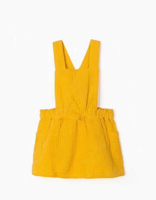 Textured Pinafore Dress for Newborn Baby Girls, Yellow