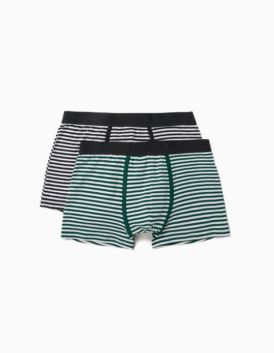 2 Pairs of Striped Boxer Shorts, for Men