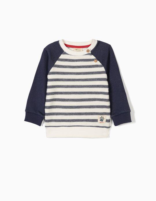 Sweatshirt para Bebé Menino 'Wild & Free', Azul e Branco