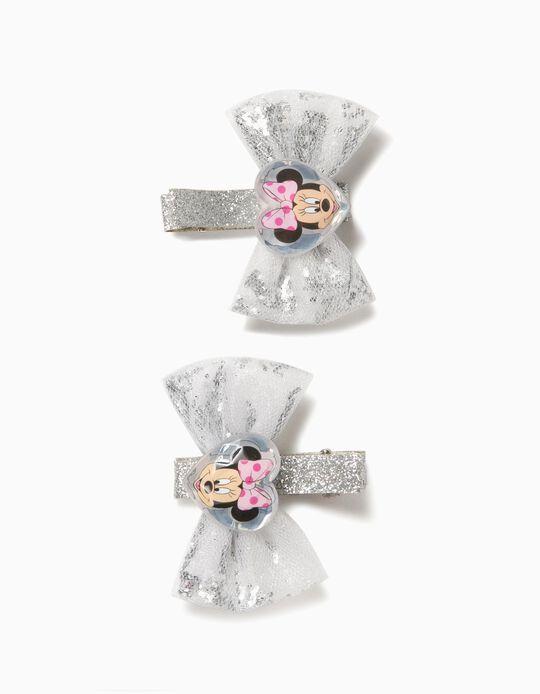 2 Ganchos de Cabelo para Menina 'Minnie', Prateado