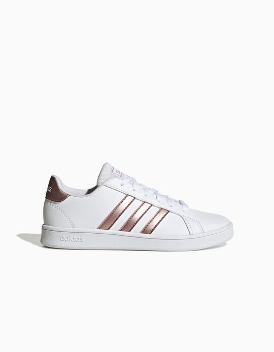 Trainers, 'Adidas Grand Court', White/Gold