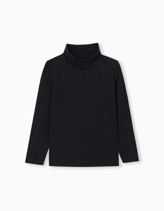 Long Sleeve, High Neck Top for Girls, Blue