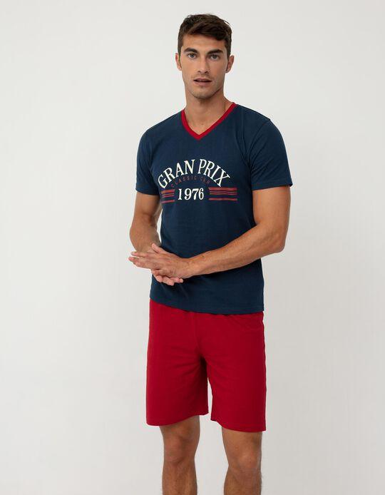 Pyjamas for Men, Blue/ Red