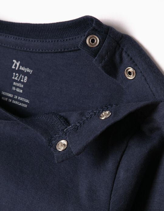 Long Sleeve Top for Baby Boys, Dark Blue