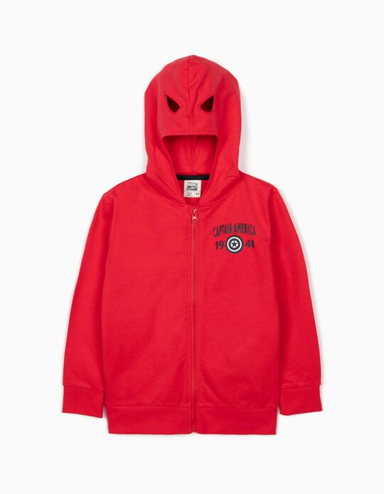Jacket with Mask-Hood for Boys, 'Captain America', Red